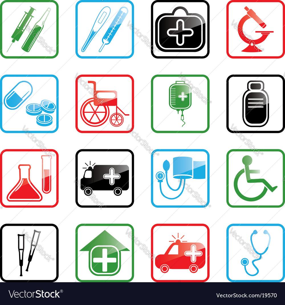 Icon set medicine vector | Price: 1 Credit (USD $1)