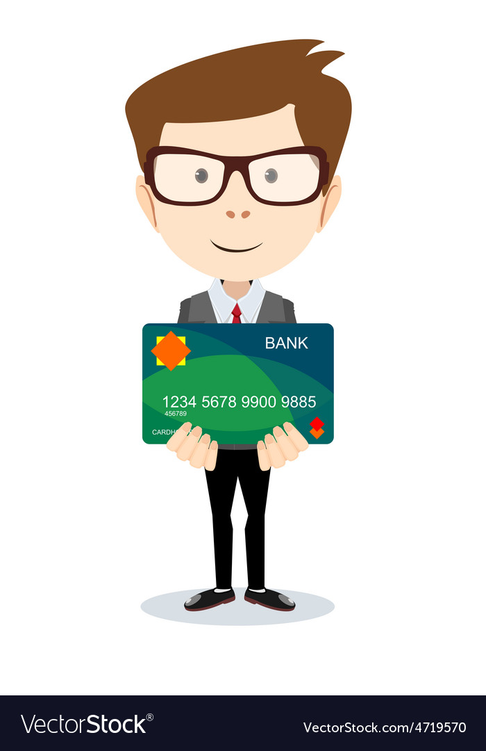 Man holding a bank card - vector | Price: 1 Credit (USD $1)