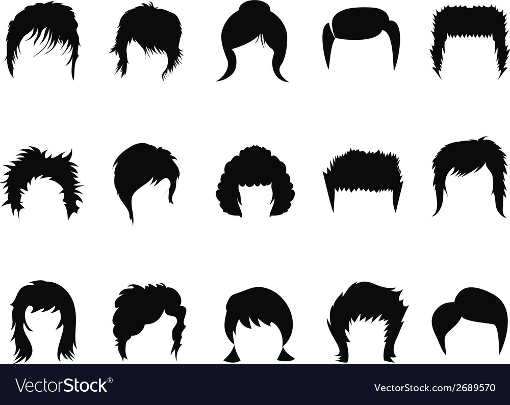 Men and women hair styling collection vector | Price: 1 Credit (USD $1)
