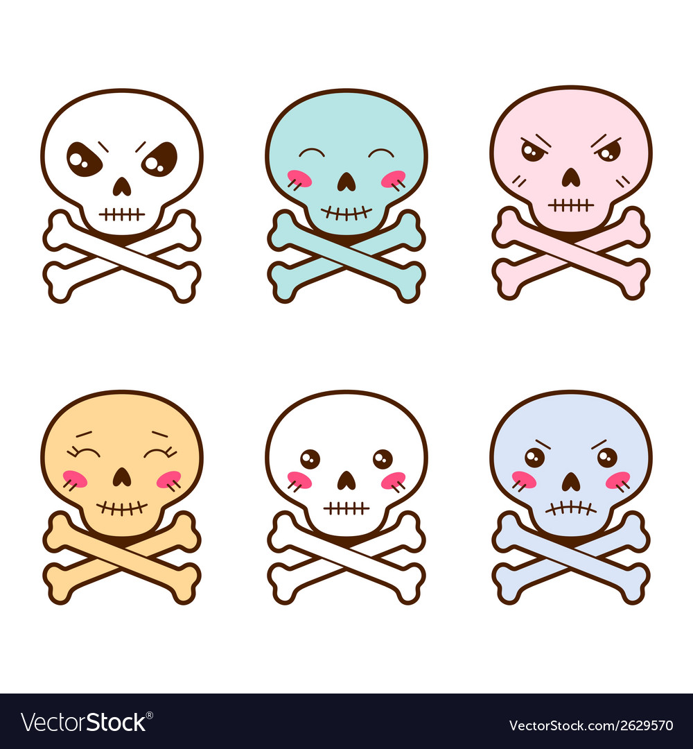 Set of kawaii skulls with different facial vector | Price: 1 Credit (USD $1)