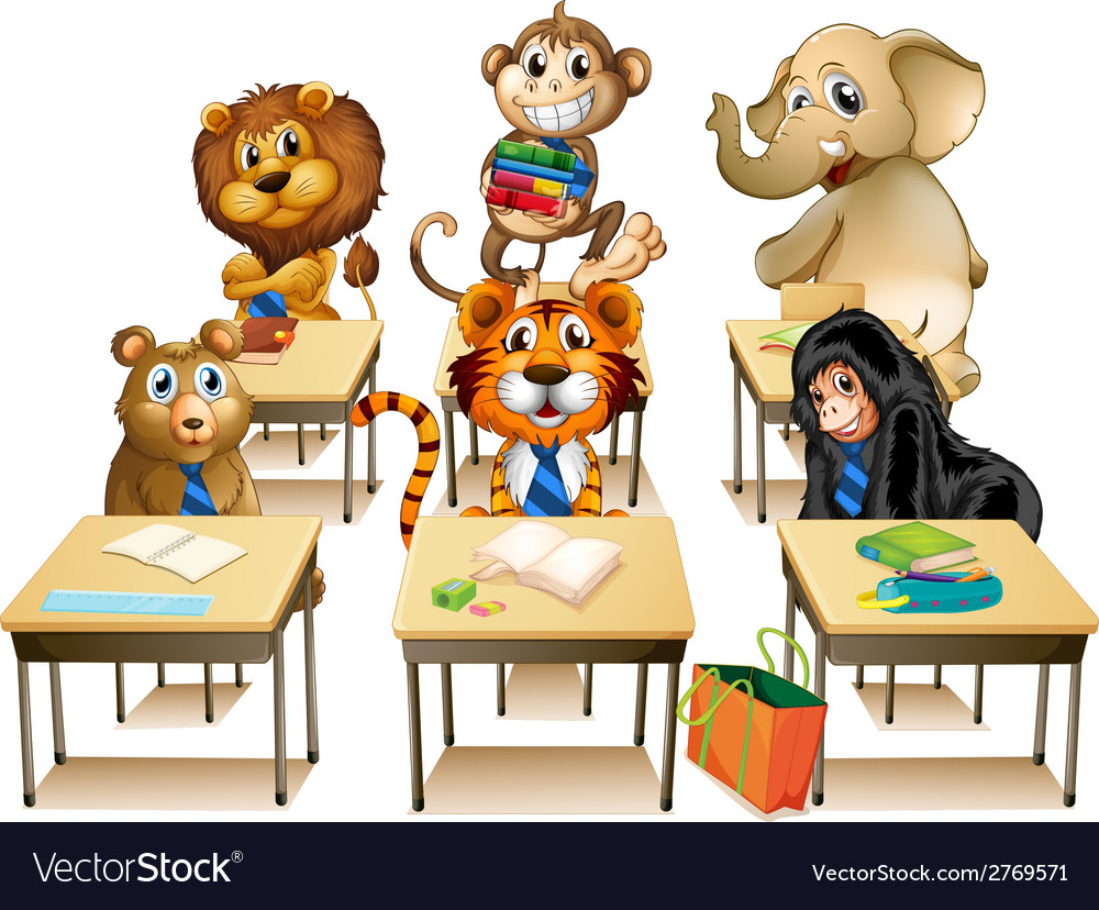Animals in classroom vector | Price: 1 Credit (USD $1)