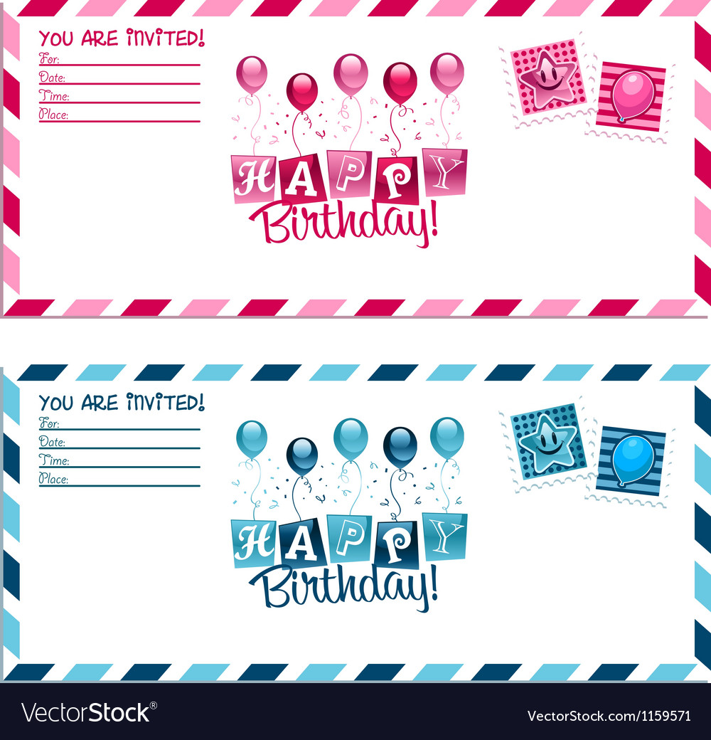 Birthday party invitation envelope vector | Price: 1 Credit (USD $1)