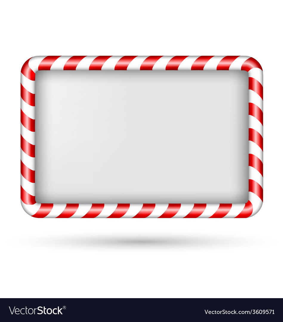 Blank candy cane frame isolated on white vector | Price: 1 Credit (USD $1)