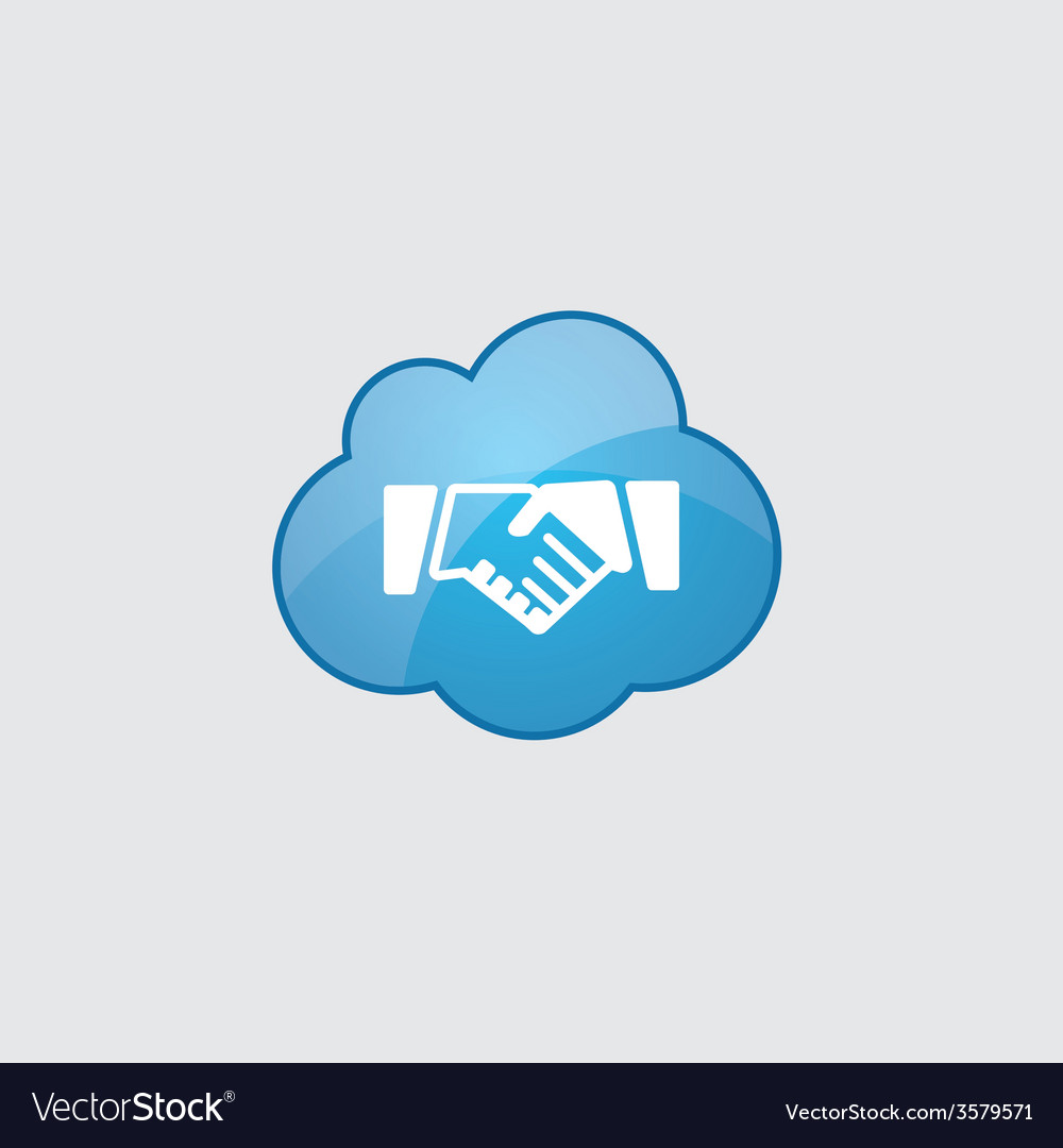 Blue cloud handshake icon vector | Price: 1 Credit (USD $1)