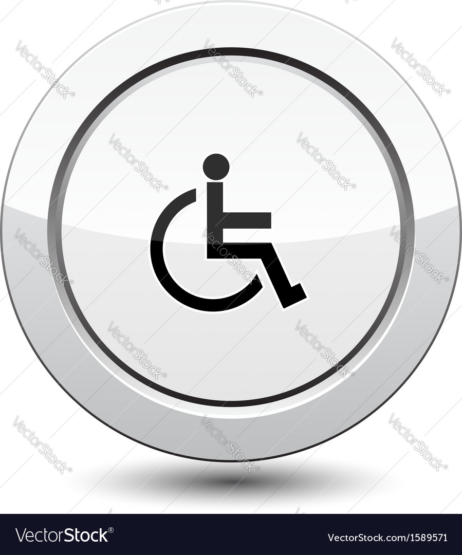 Button with man in wheelchair vector | Price: 1 Credit (USD $1)