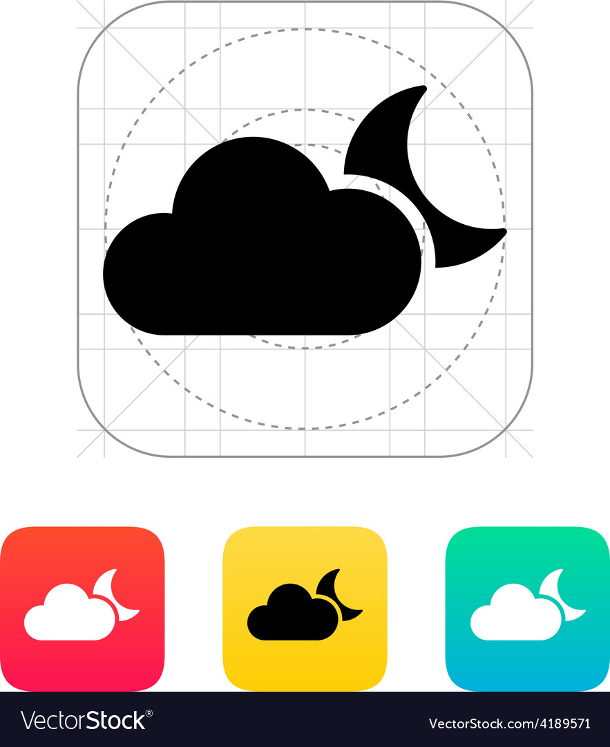 Cloudy night weather icon vector   Price: 1 Credit (USD $1)
