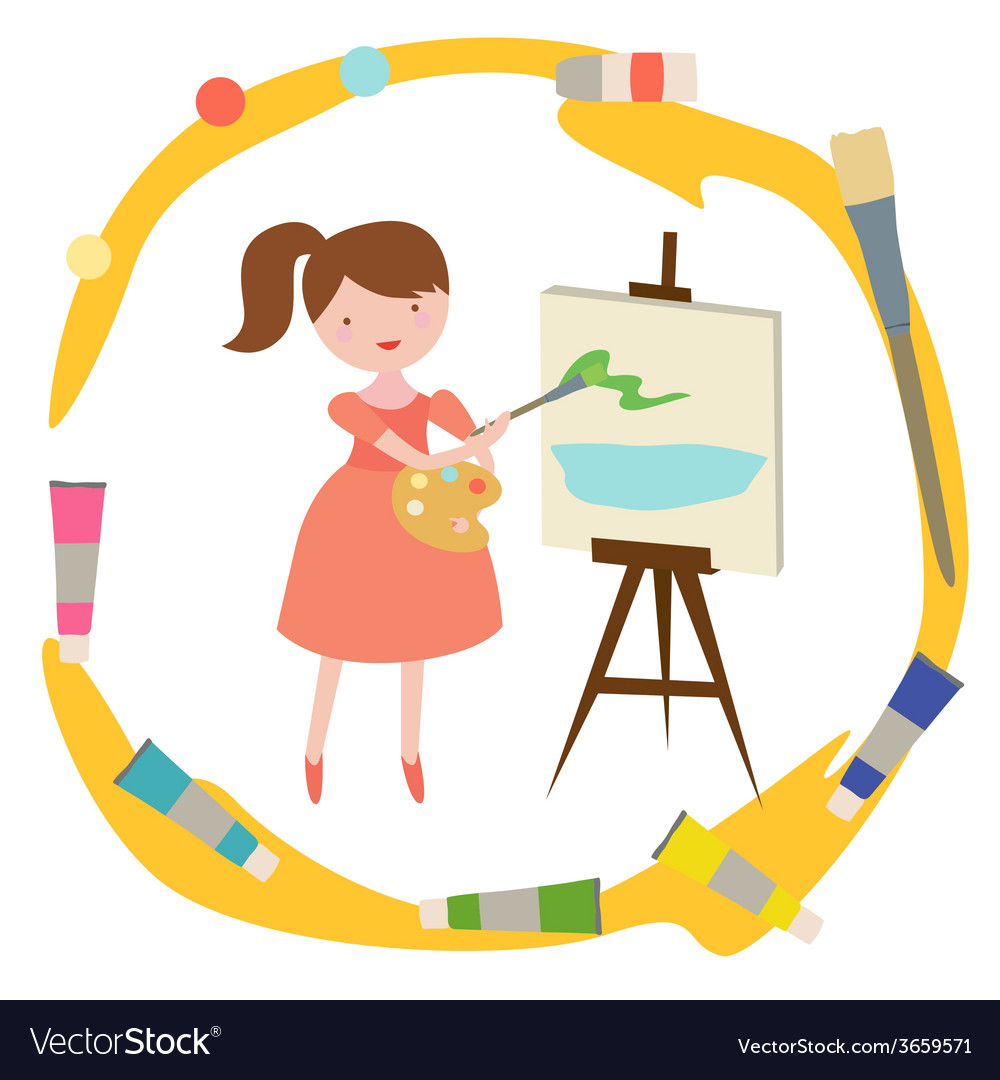 Composition with girl artist vector | Price: 1 Credit (USD $1)
