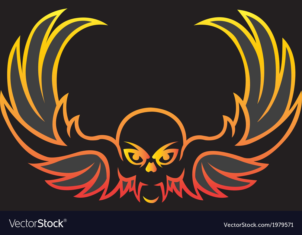 Cyber skull with wing- vector | Price: 1 Credit (USD $1)