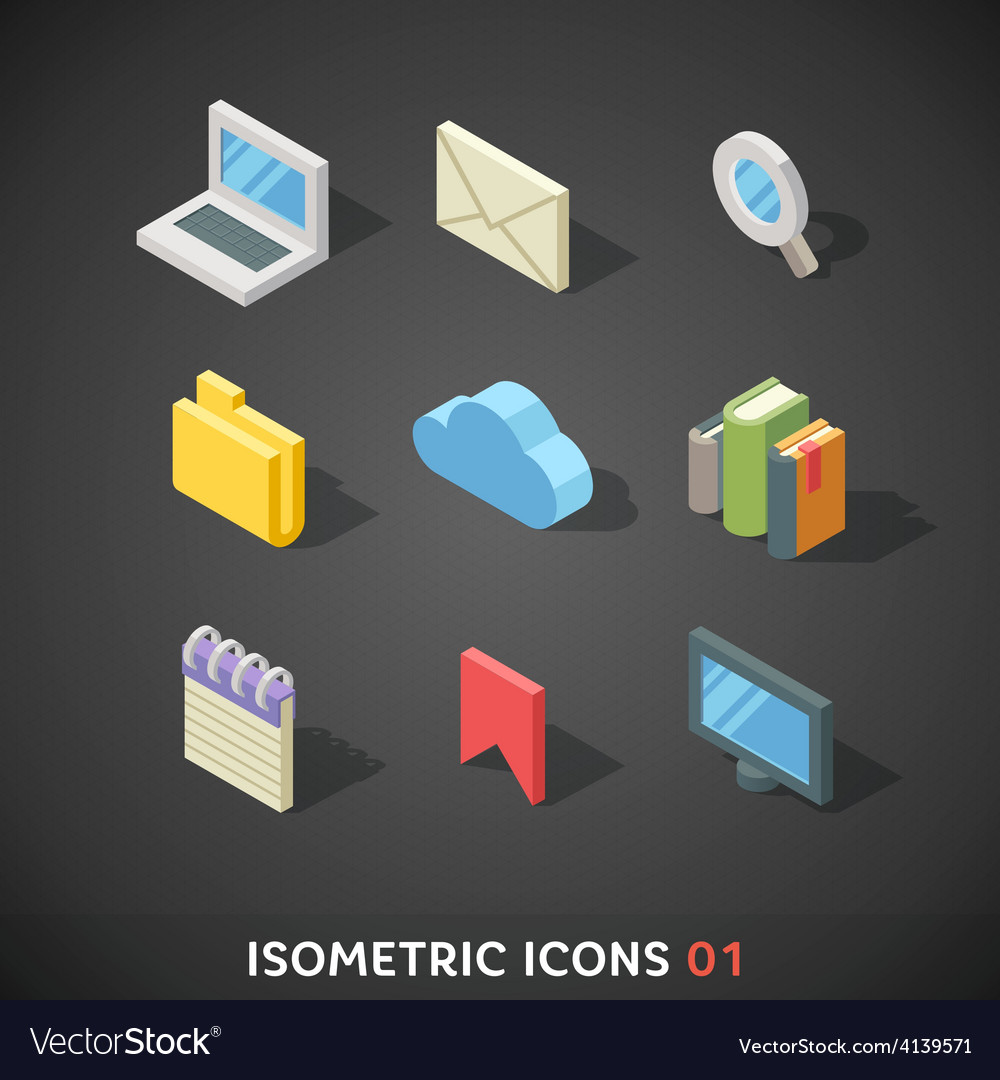 Flat isometric icons set 1 vector | Price: 3 Credit (USD $3)