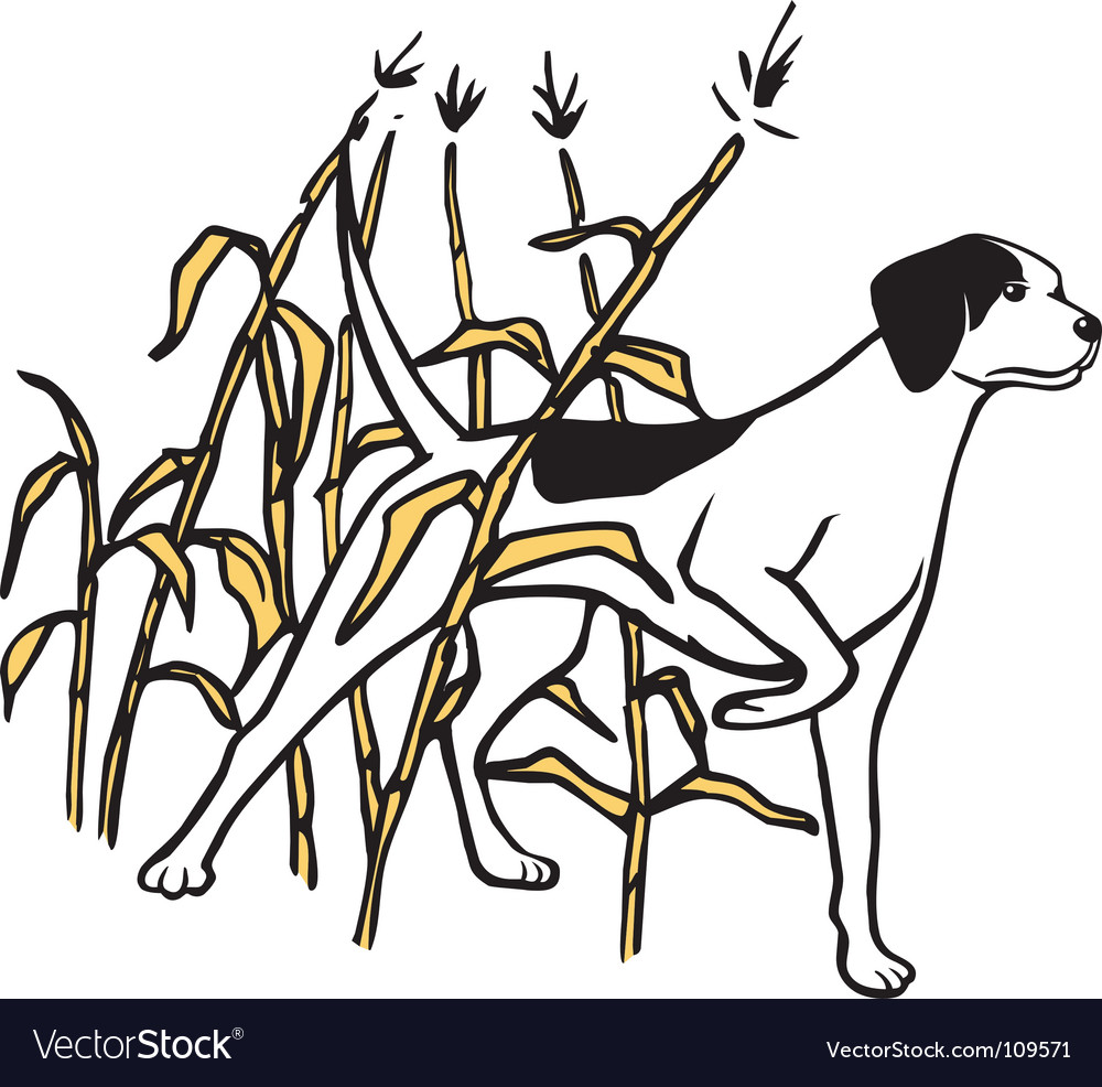 Hunting dog in field vector | Price: 1 Credit (USD $1)