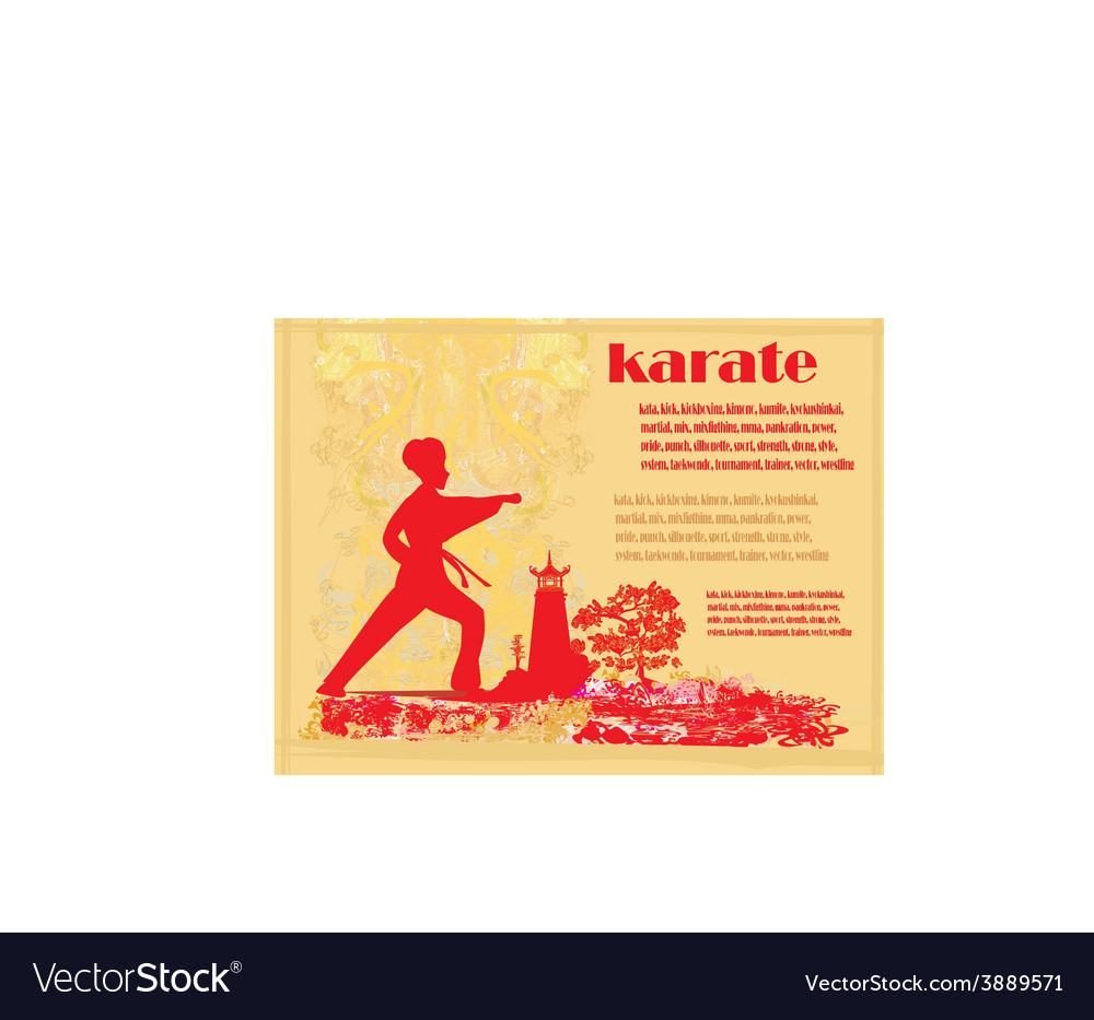 Karate grunge card vector | Price: 1 Credit (USD $1)