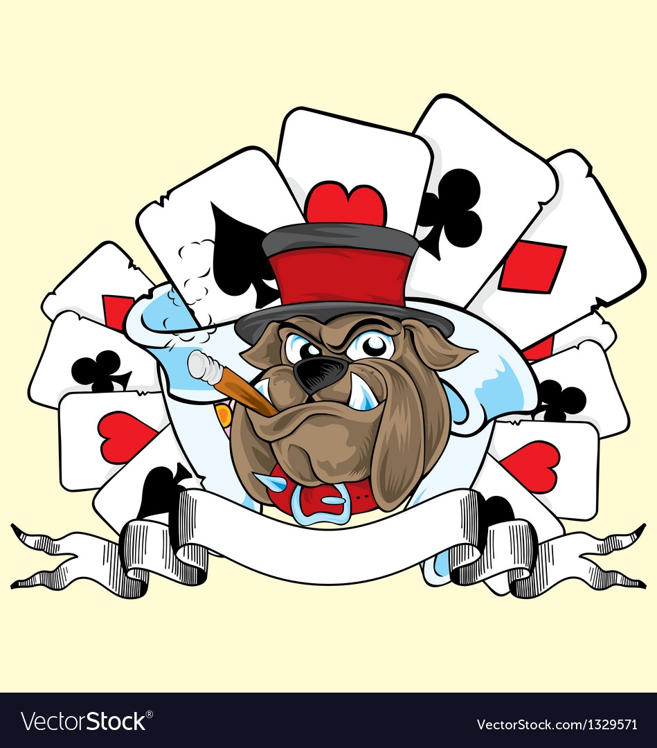 Playing card and bulldog vector | Price: 3 Credit (USD $3)