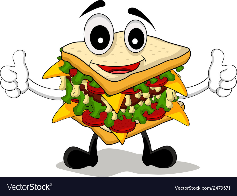 Sandwich cartoon thumb up vector | Price: 1 Credit (USD $1)