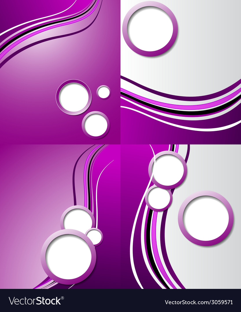 Set of purple backgrounds design frame line shadow vector | Price: 1 Credit (USD $1)