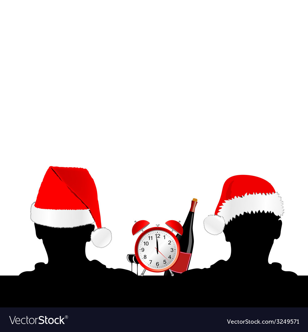 Two man silhouette with red hat and clock vector   Price: 1 Credit (USD $1)