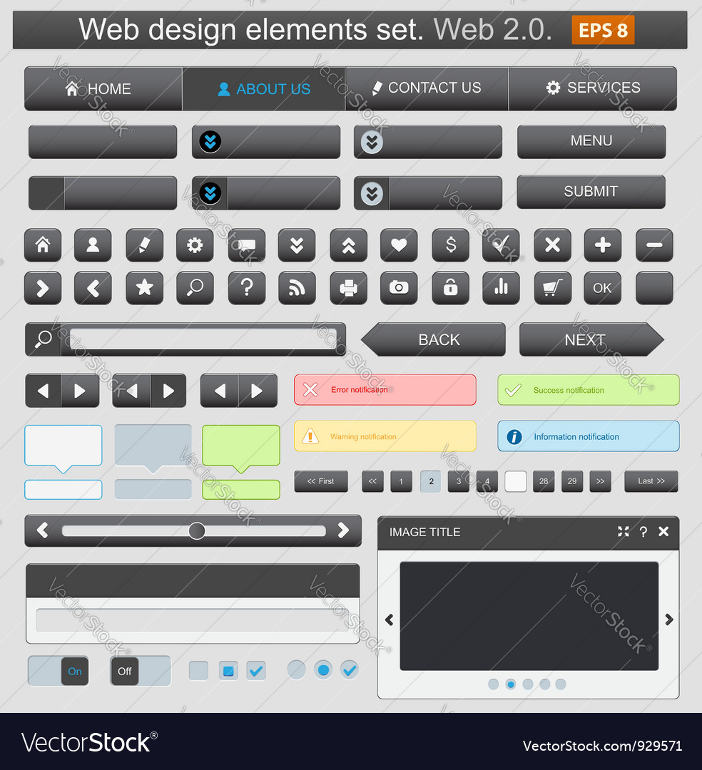 Web design elements set black vector | Price: 1 Credit (USD $1)