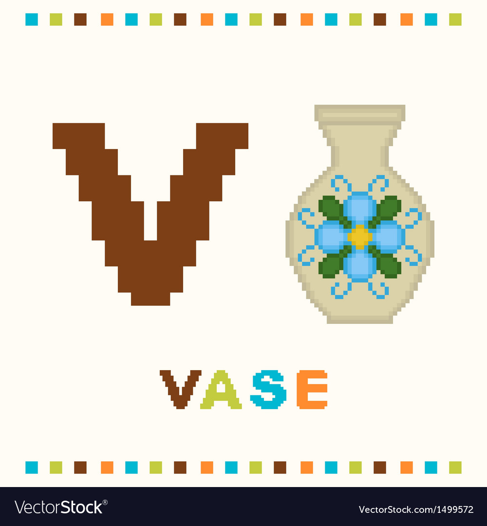 Alphabet for children letter v and a vase vector | Price: 1 Credit (USD $1)