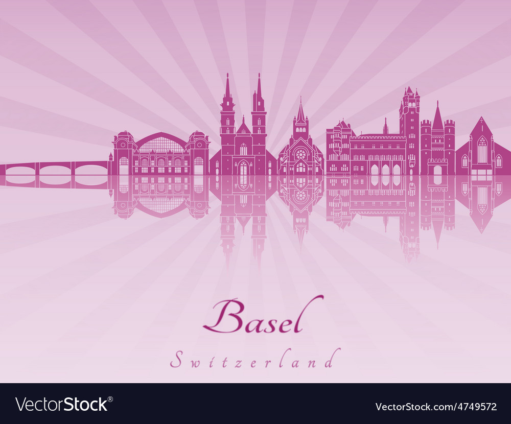 Basel skyline in purple radiant orchid vector | Price: 1 Credit (USD $1)
