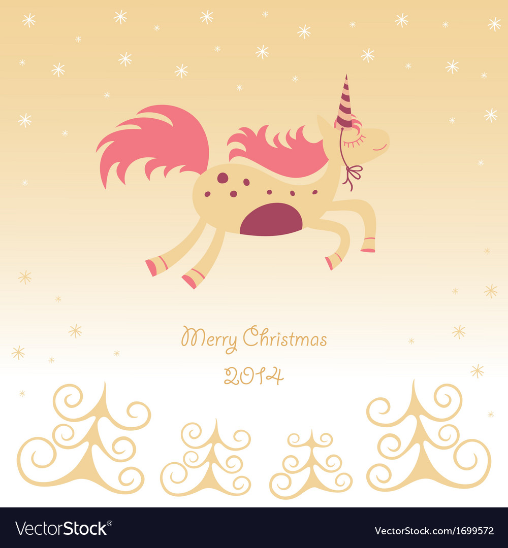 Christmas card with a running horse dreamy vector | Price: 1 Credit (USD $1)