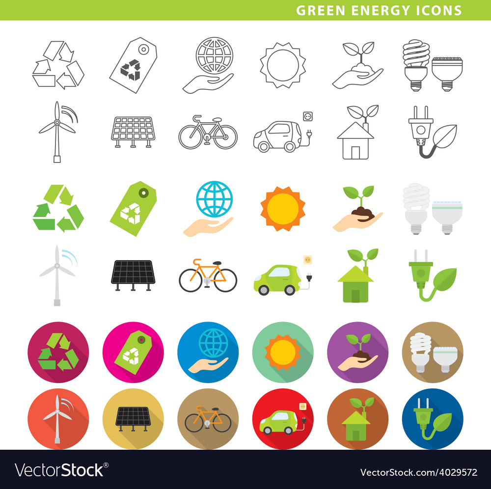 Green energy icons vector | Price: 1 Credit (USD $1)