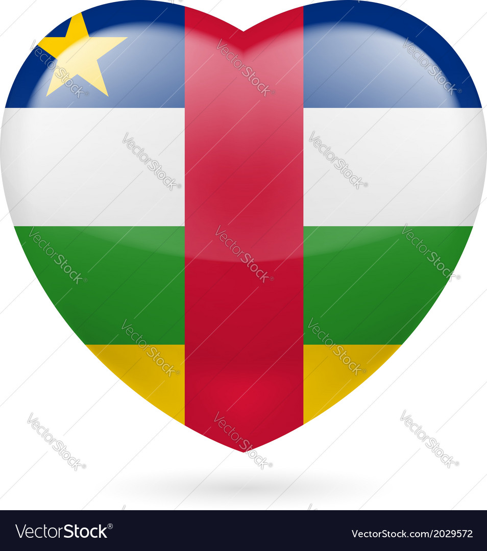 Heart icon of central african republic vector | Price: 1 Credit (USD $1)