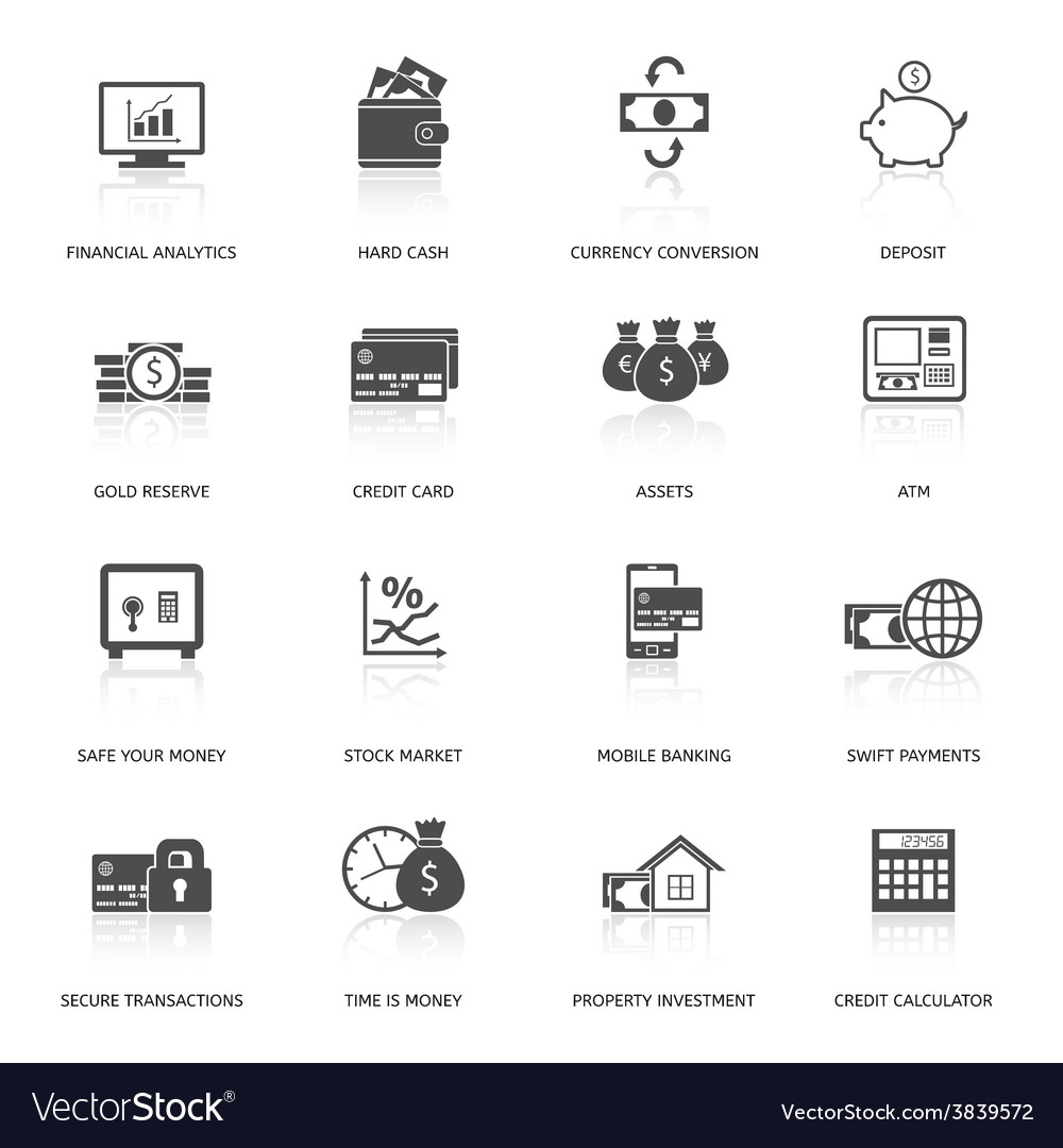 Set of finance and money icons vector | Price: 1 Credit (USD $1)