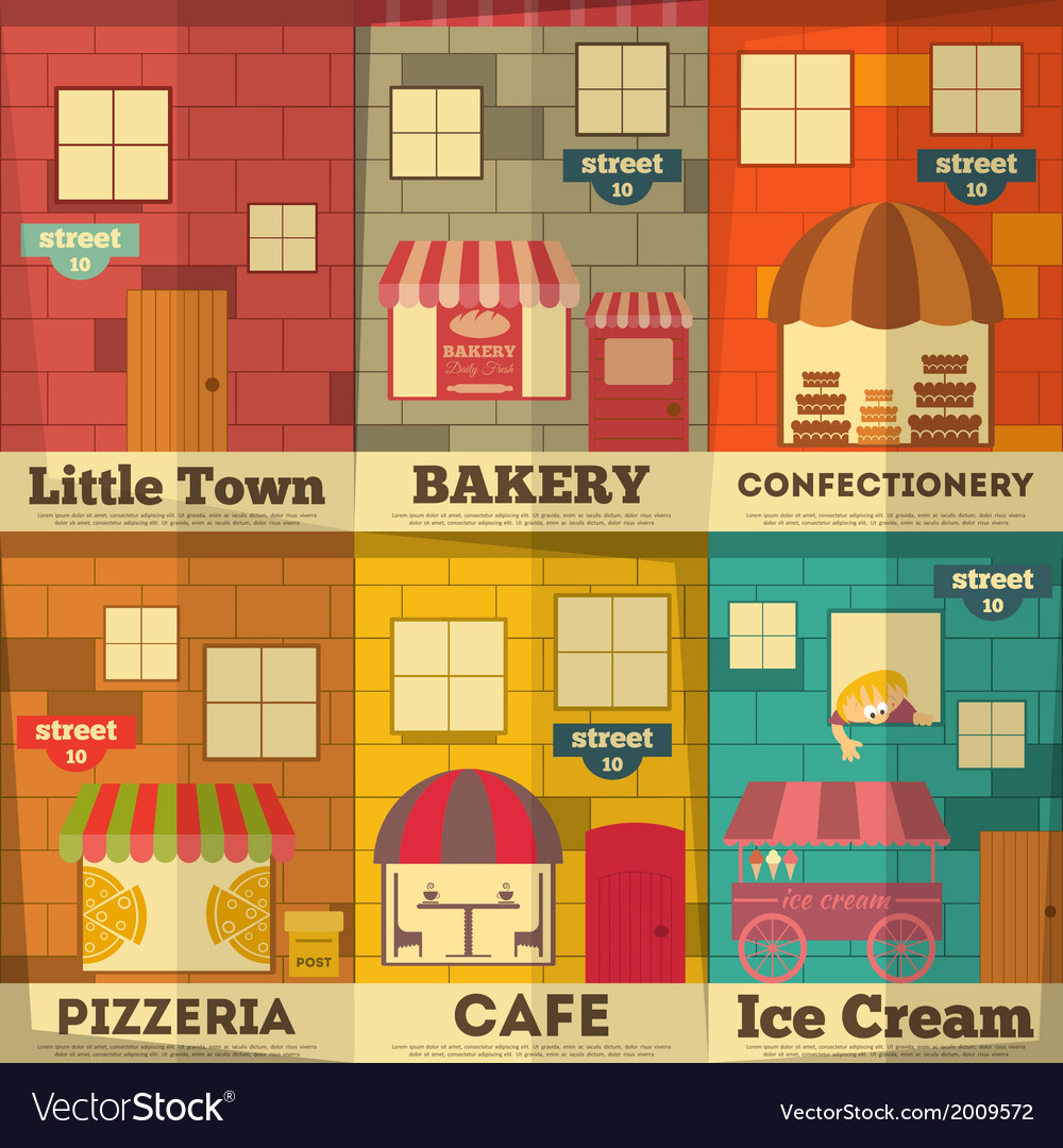 Town posters vector | Price: 1 Credit (USD $1)