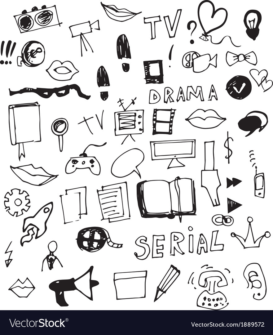Visual media doodle vector | Price: 1 Credit (USD $1)