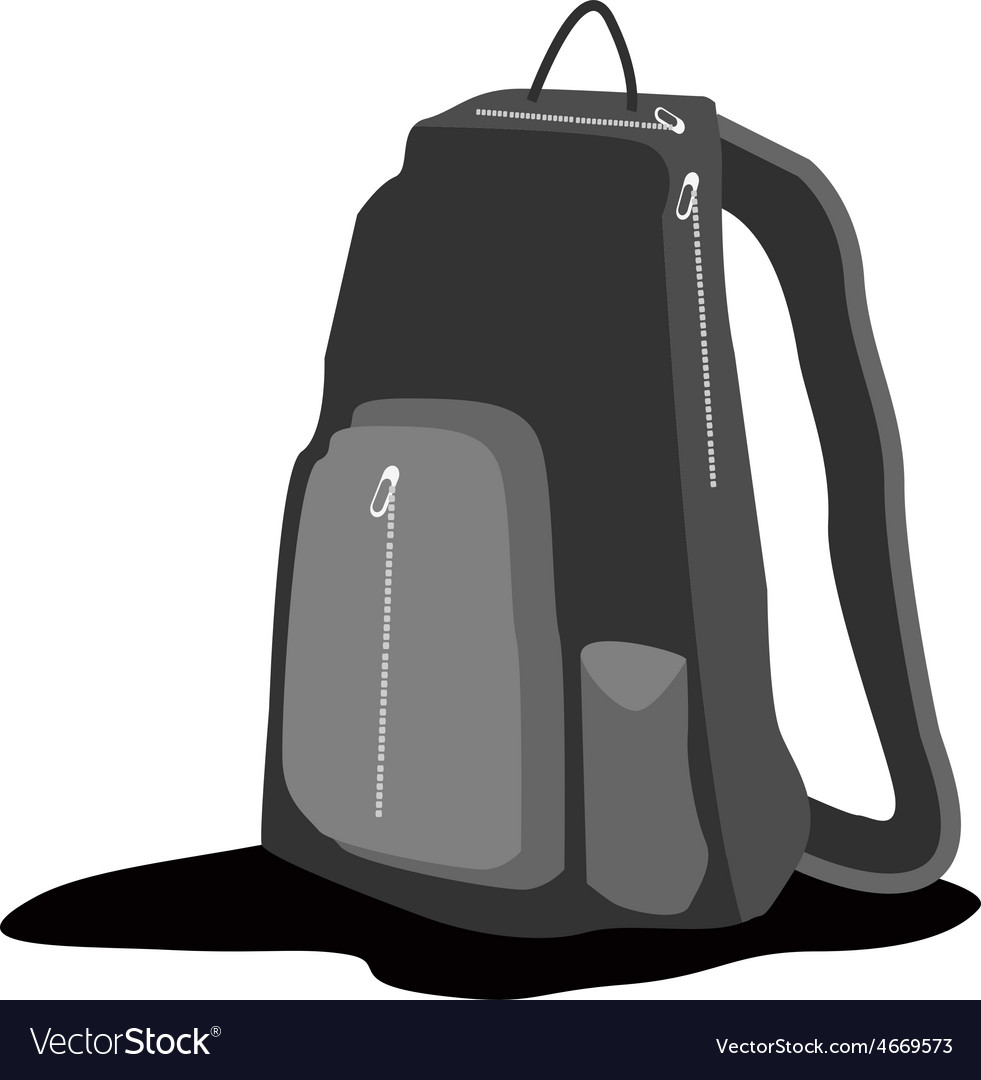 A black backpack standing on white background vector | Price: 1 Credit (USD $1)