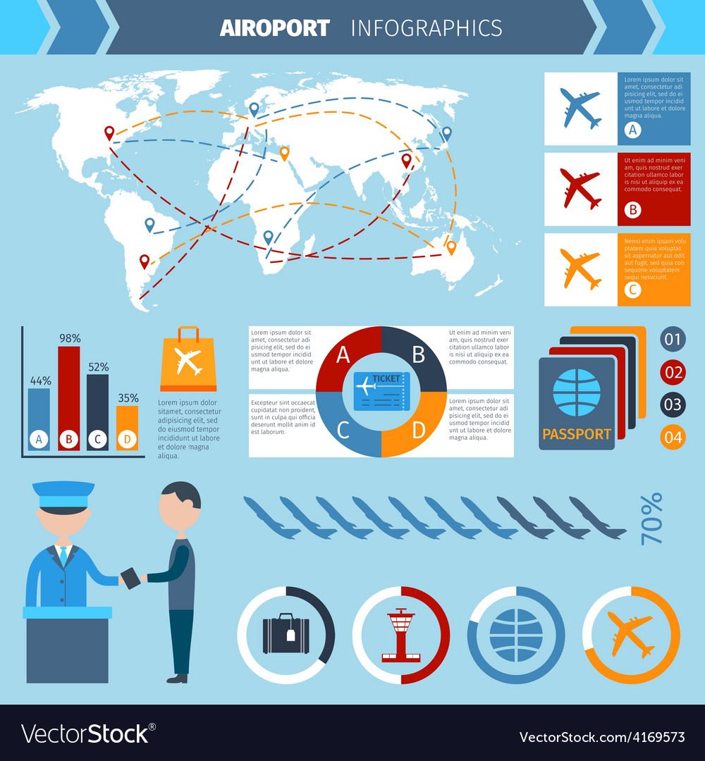 Airport infographics set vector | Price: 1 Credit (USD $1)