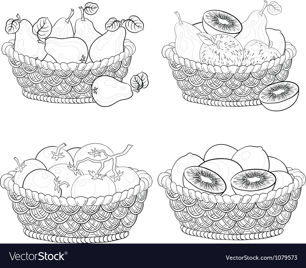 Baskets with fruits and vegetables outline vector | Price: 1 Credit (USD $1)