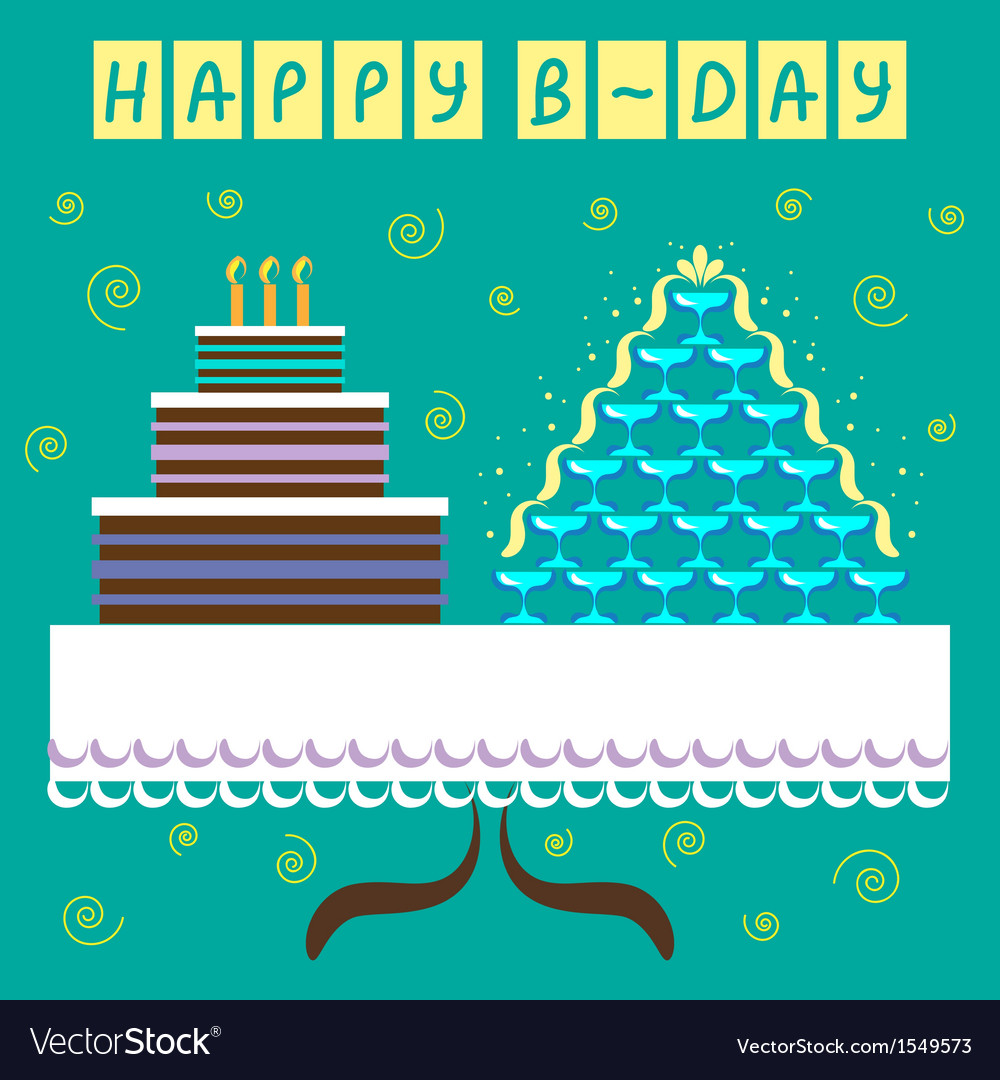Birthday greeting card with big cake vector | Price: 1 Credit (USD $1)