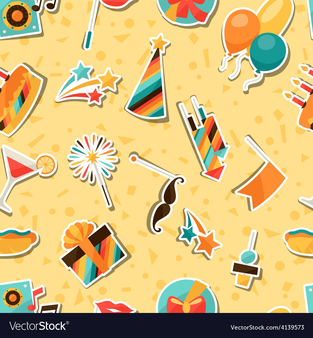 Celebration seamless pattern with party sticker vector | Price: 1 Credit (USD $1)
