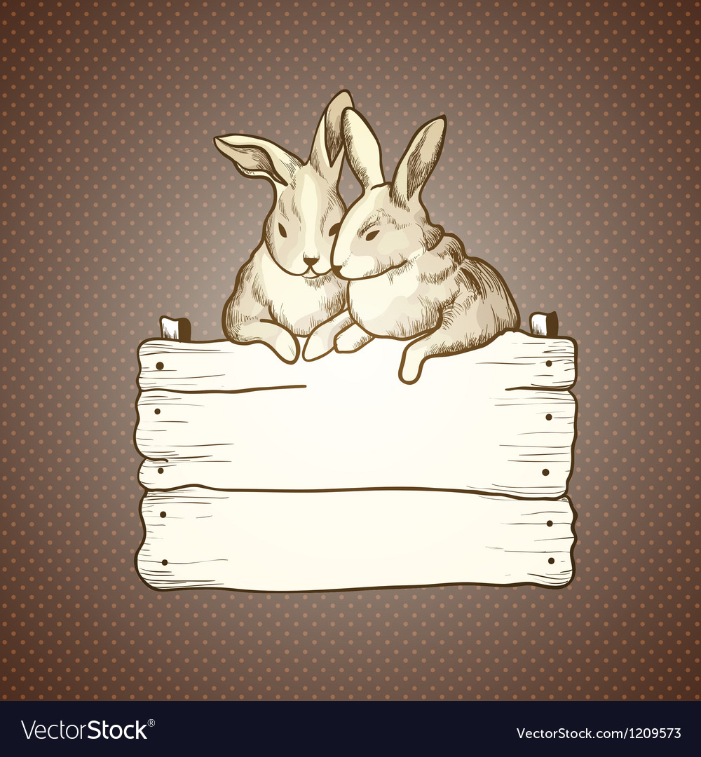 Couple of easter rabbits on brown dots background vector   Price: 1 Credit (USD $1)