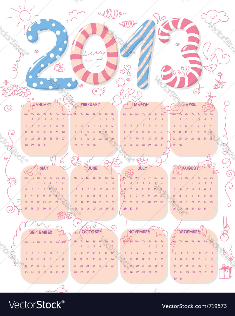 Cute 2013 calendar vector | Price: 1 Credit (USD $1)