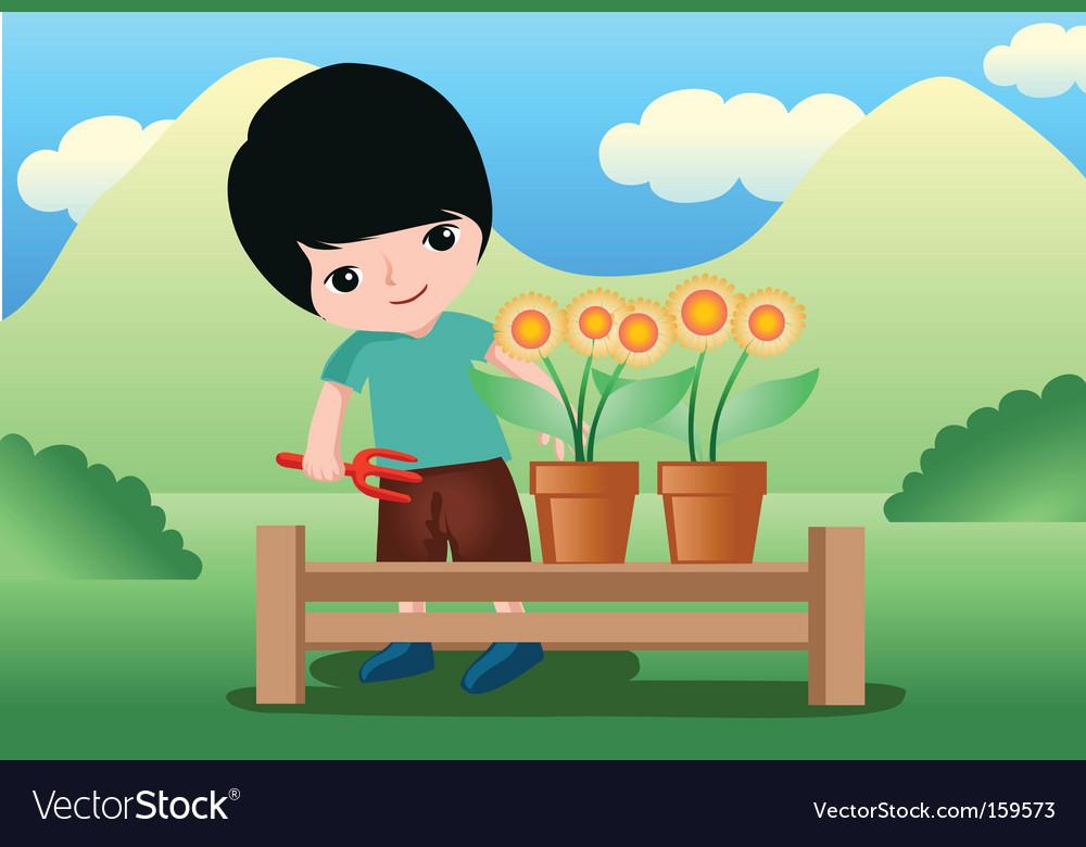 Flower kid vector | Price: 1 Credit (USD $1)