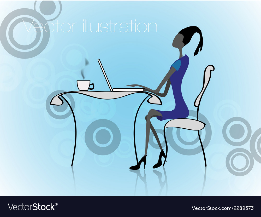 Girl with laptop in a office work vector | Price: 1 Credit (USD $1)
