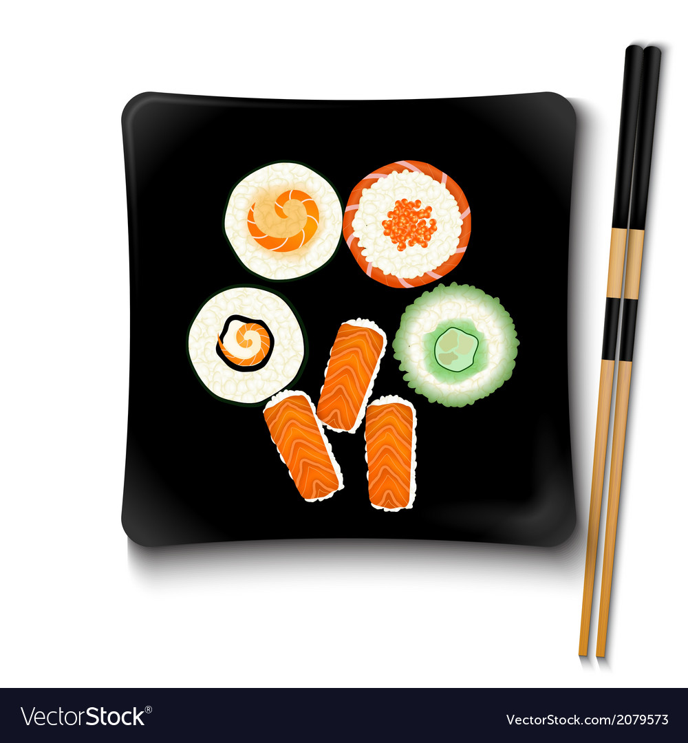 Japanese seafood sushi on a black square plate vector | Price: 1 Credit (USD $1)