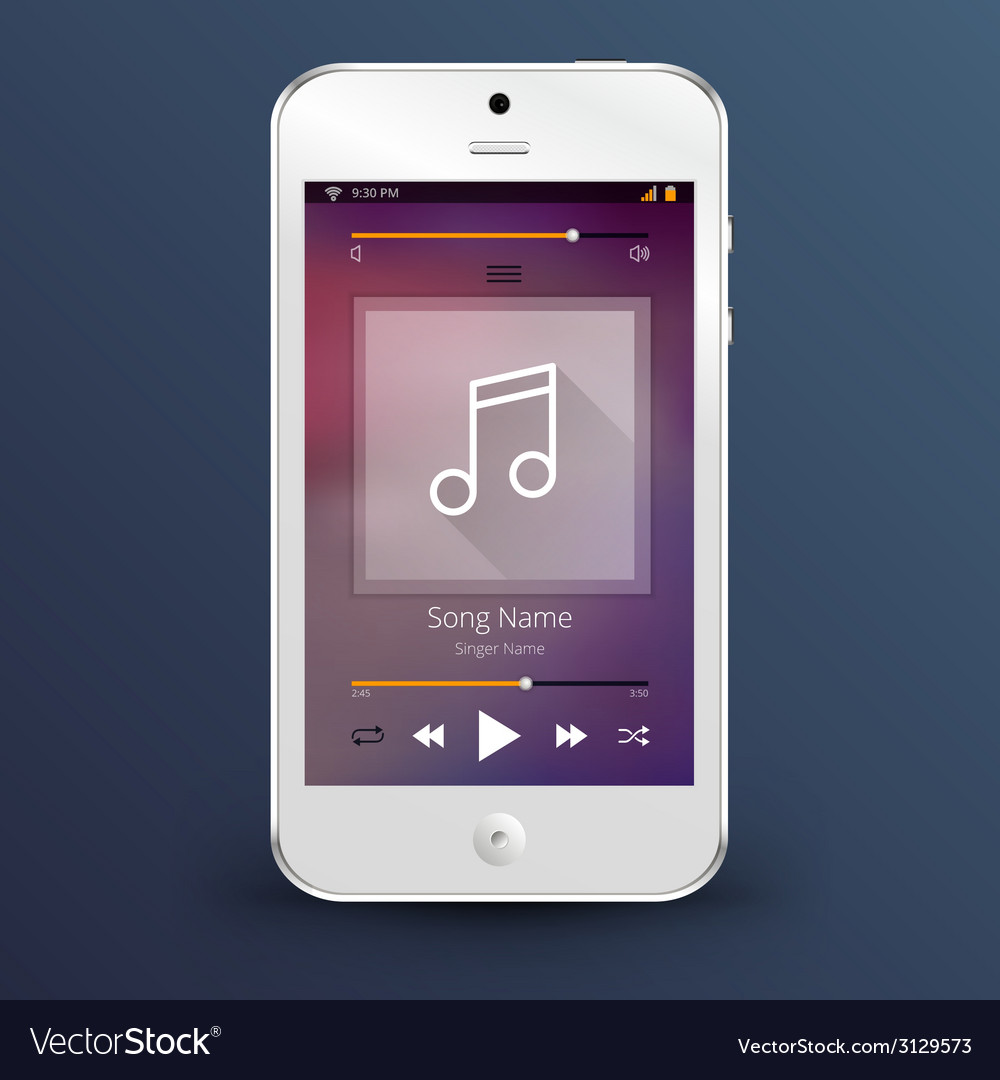 Smartphone with music player application vector | Price: 1 Credit (USD $1)