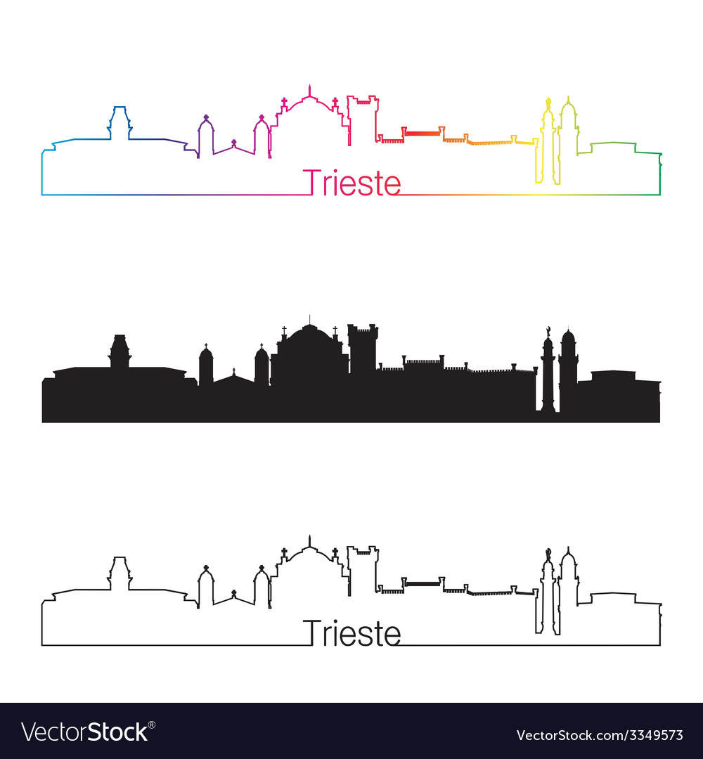 Trieste skyline linear style with rainbow vector | Price: 1 Credit (USD $1)