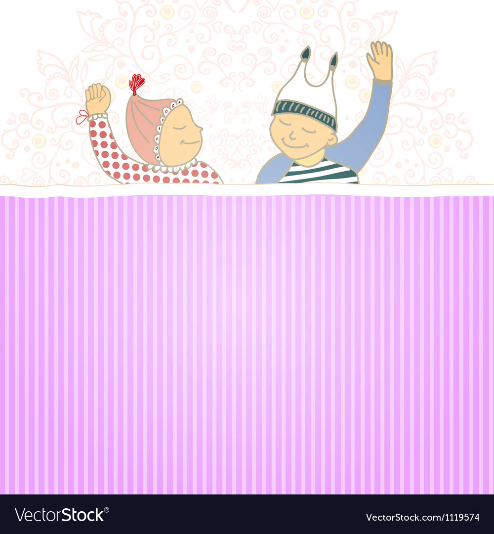 Baby shower card with twins little boy and girl vector | Price: 1 Credit (USD $1)