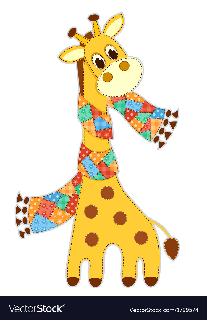 Giraffein in a scarf isolated vector | Price: 1 Credit (USD $1)