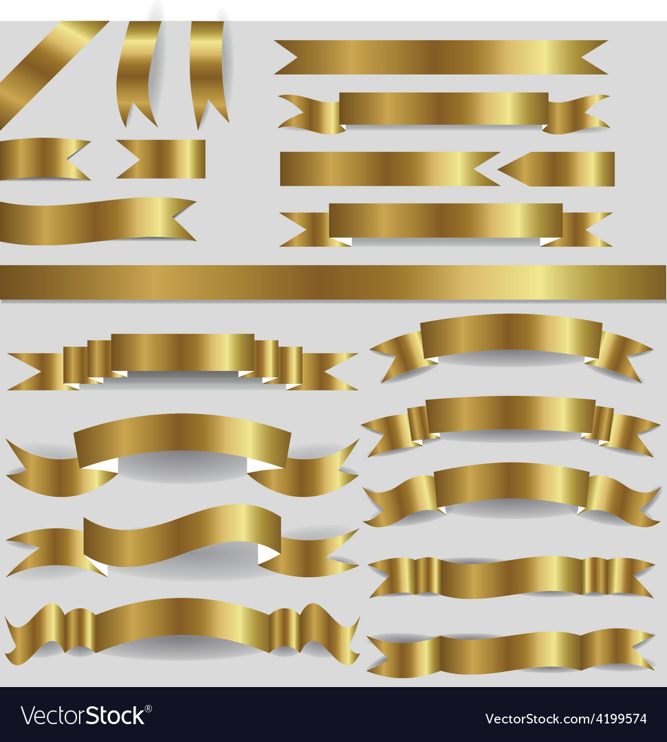 Gold ribbons vector | Price: 1 Credit (USD $1)