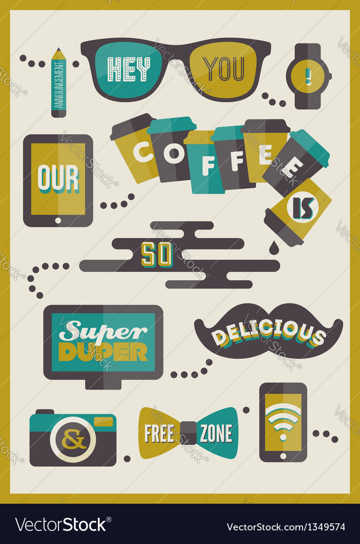 Hipster cafe menu - set of design elements vector | Price: 1 Credit (USD $1)