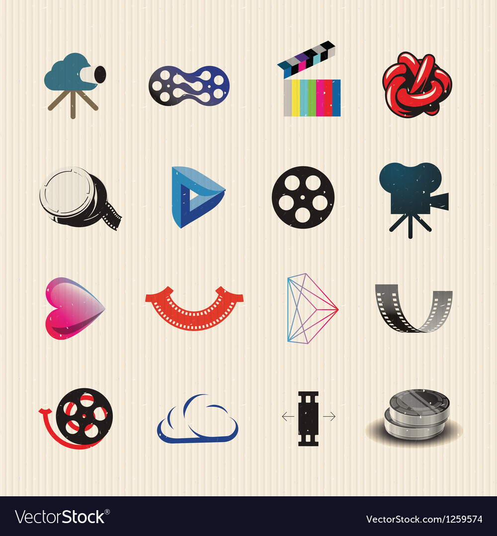 Movie icon set vector | Price: 1 Credit (USD $1)