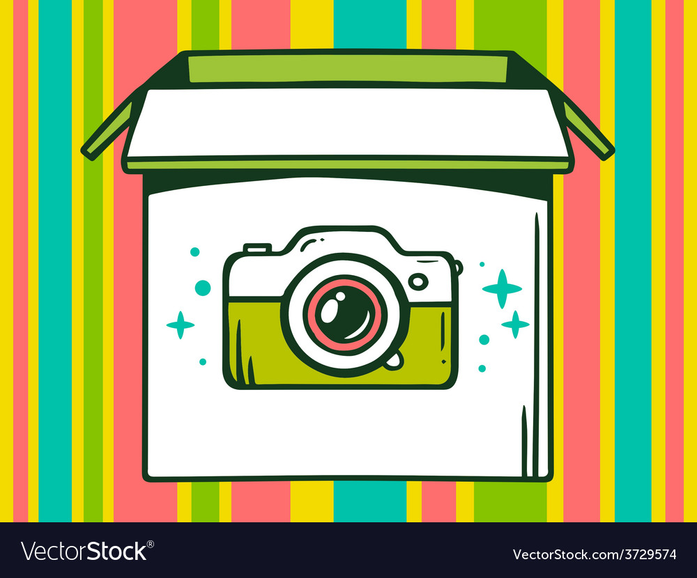 Open box with icon of photo camera on co vector | Price: 1 Credit (USD $1)