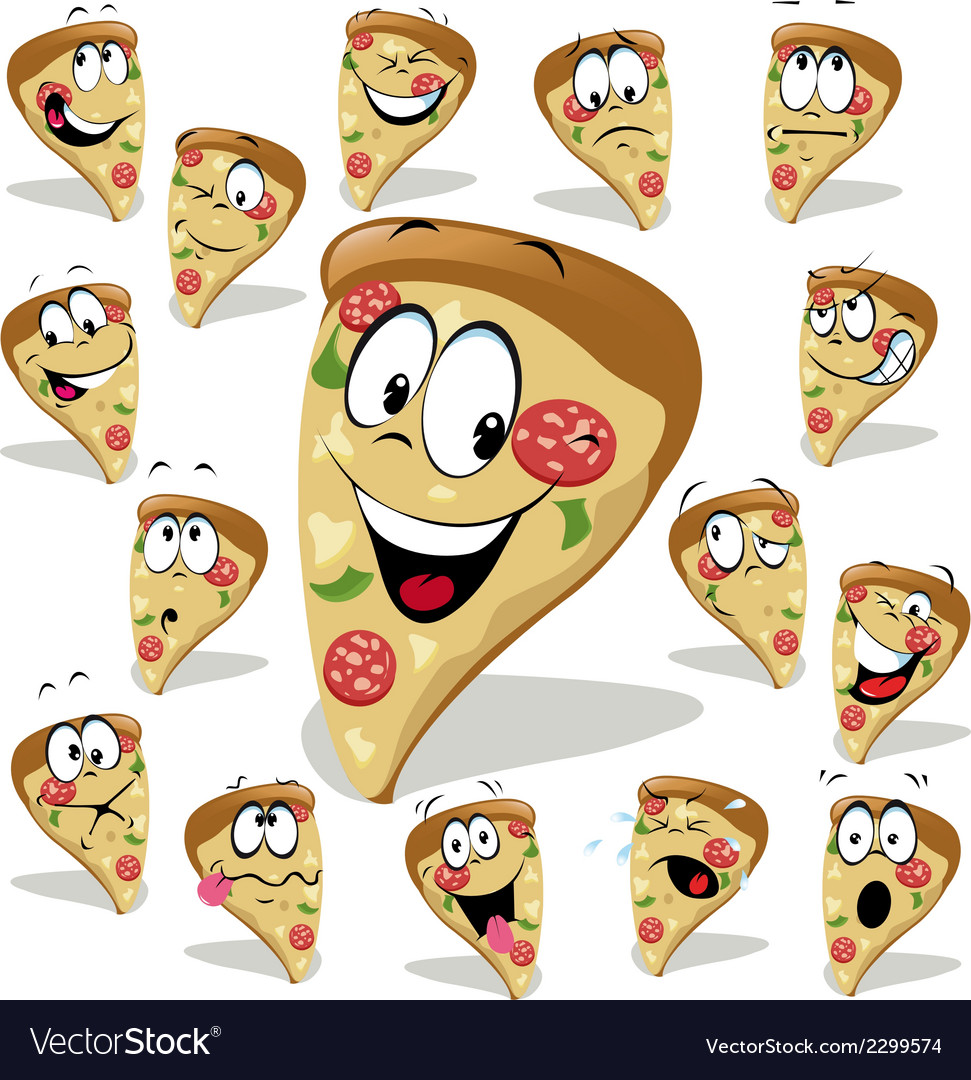 Pizza cartoon with many expressions vector | Price: 1 Credit (USD $1)