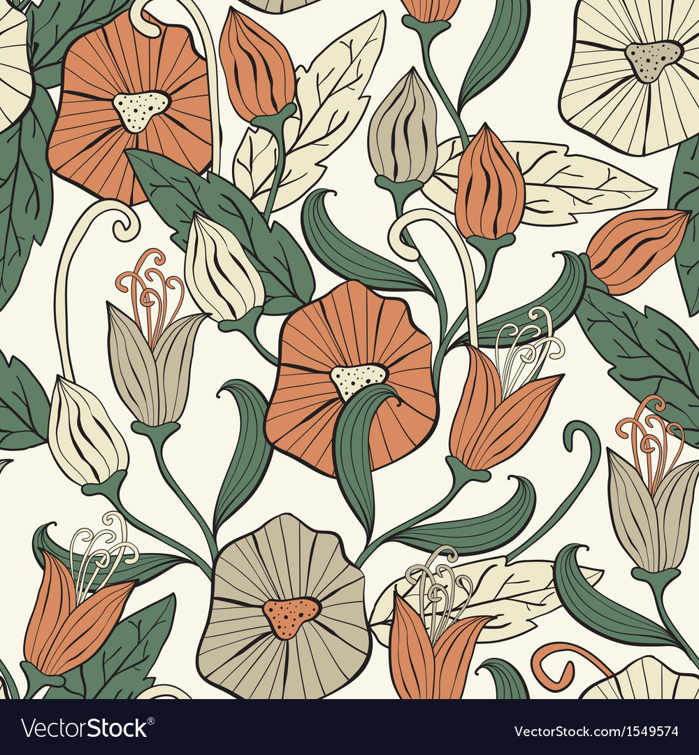 Seamless floral funky pattern vector | Price: 1 Credit (USD $1)