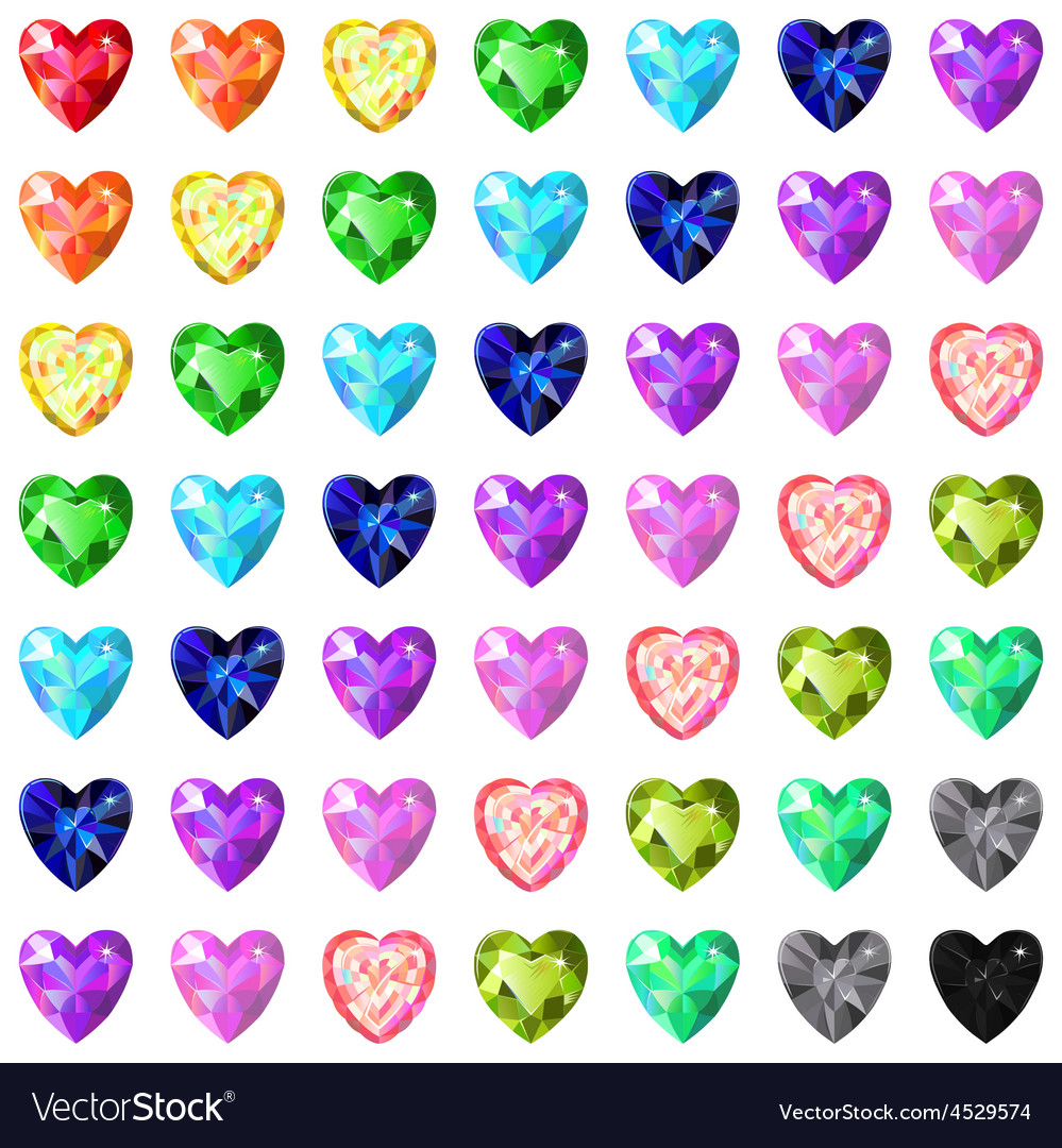 Seamless texture of colored heart cut gems vector | Price: 1 Credit (USD $1)