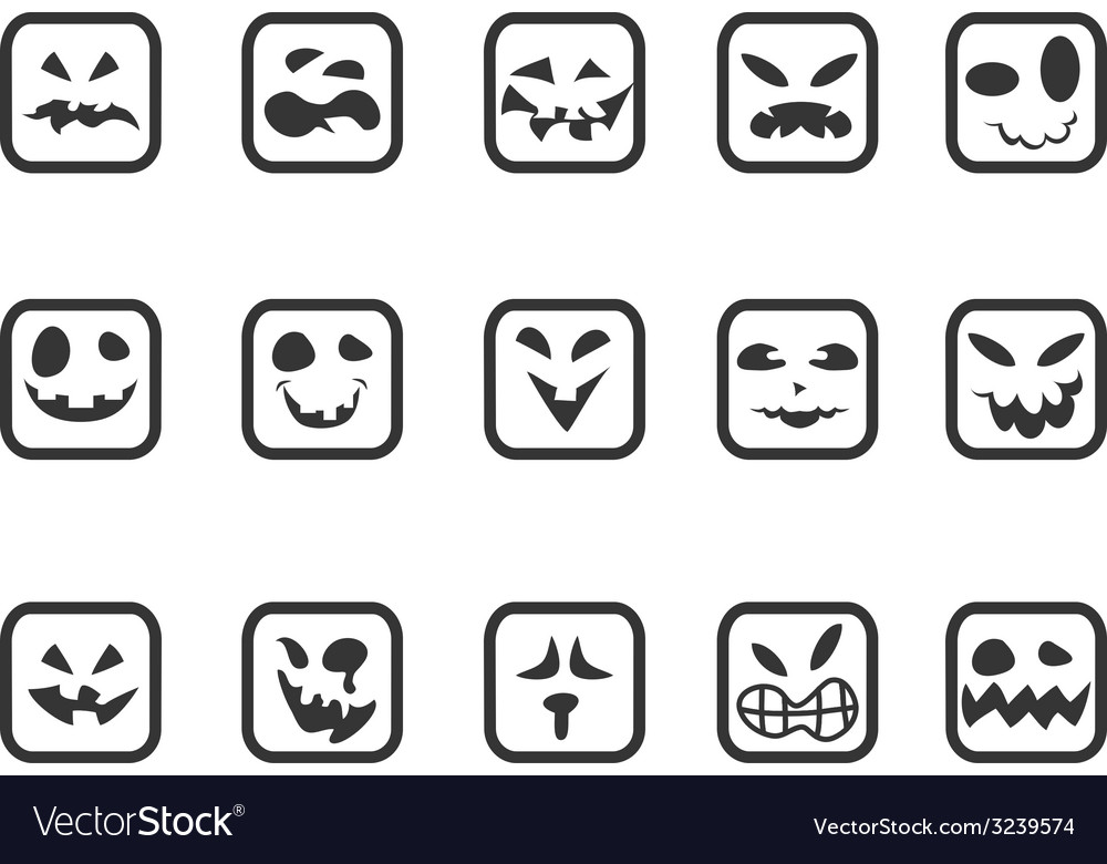 Square scary face icons set vector | Price: 1 Credit (USD $1)